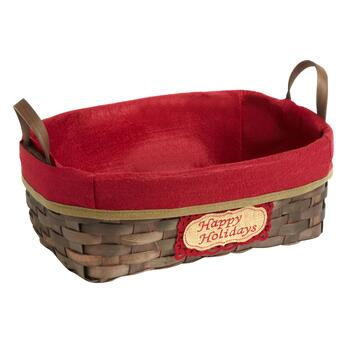 """Happy Holidays"" Handwoven Woodchip Tray Basket"