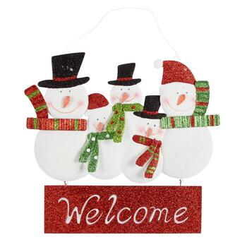 "Red ""Welcome"" Glittered Metal Snowmen Hanging Sign"