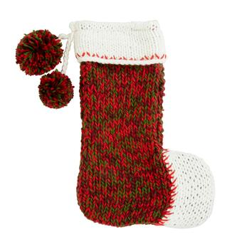 "19"" Green/Red Hand-Knit Christmas Stocking"