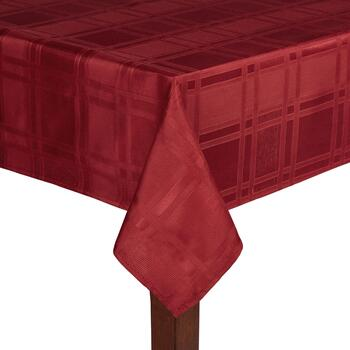 Solid Red Checkered Microfiber Tablecloth