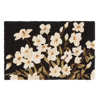 Black/White Floral Hooked Multipurpose Mat