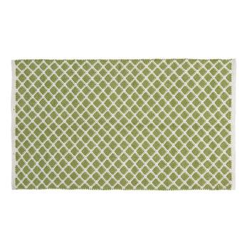 "27""x45"" Green/White Woven Diamond Accent Rug"