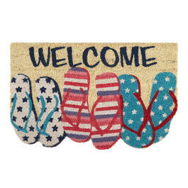 """Welcome"" Red/White/Blue Flip Flops Coir Door Mat view 1"