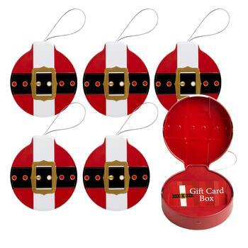Santa Belt Hanging Gift Card Holder Tins 6 Piece Christmas Tree