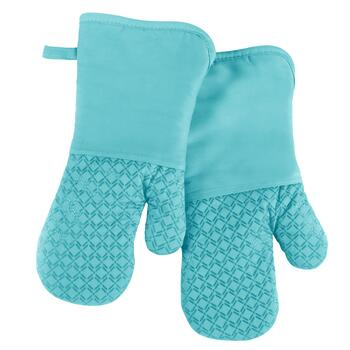 Aqua Silicone Oven Mitts, Set of 2