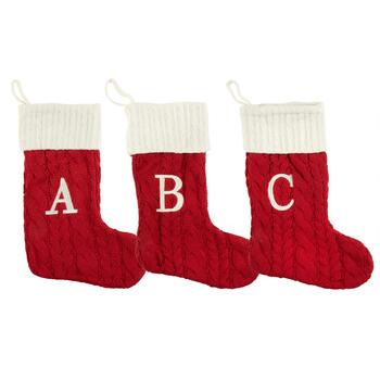 Red/Ivory Monogram Cable Knit Christmas Stocking
