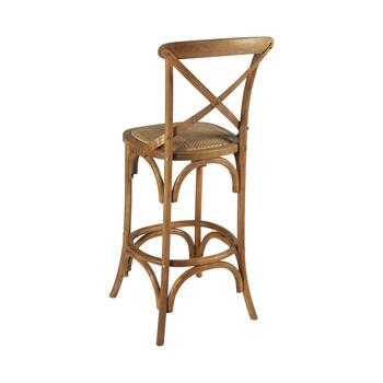 "46"" Rustic French Wood Barstool view 2"