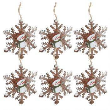 Painted Snowman Glittery Snowflake Ornaments, Set of 6