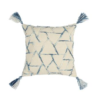 "The Grainhouse™ 20"" Blue/White Geo Embroidered Square Cotton Throw Pillow"