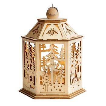 Holiday Forest LED Wood Lantern