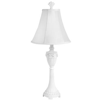 "27"" White Shell Embossed Hourglass Table Lamp"
