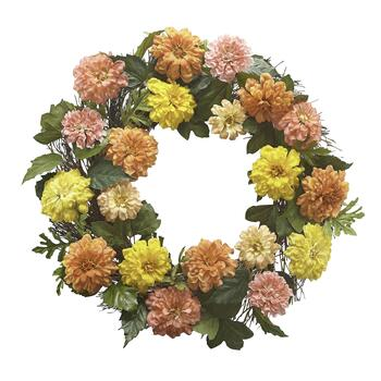 Pink and Yellow Mixed Spring Floral Wreath