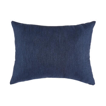 Solid Dark Blue Woven Indoor/Outdoor Oblong Throw Pillow with Button view 2
