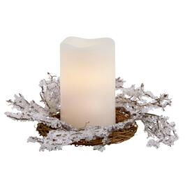 Beaded Snow Wreath LED Pillar Candle with Timer