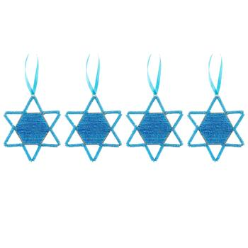 Blue Star of David Cutout Beaded Hanging Ornaments, Set of 4