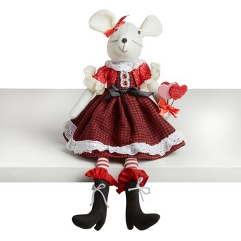 "20"" Girl Mouse Ledge Sitter with Heart Bouquet"