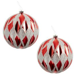 "9"" Red/Silver Harlequin Ornaments, Set of 2"