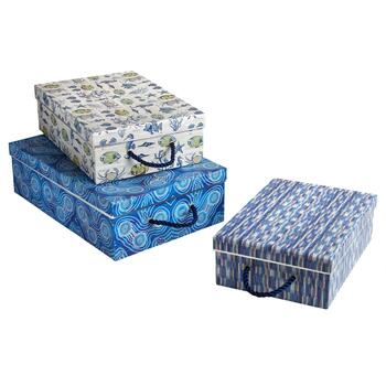 Coastal Tide Rectangular Storage Boxes, Set of 3