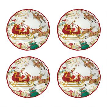 Santa Sleigh Melamine Dinner Plates, Set of 4