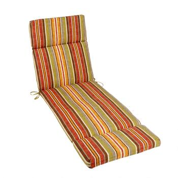 Red/Orange Stripe Indoor/Outdoor Hinged Chaise Chair Pad