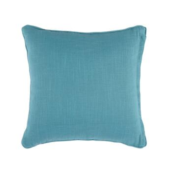 Blue/Beige Square Embroidered Bead Throw Pillow view 2