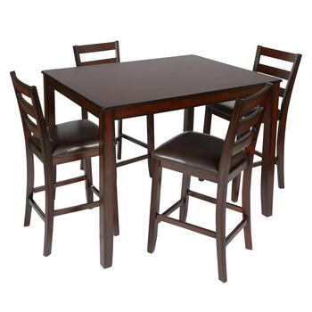 Espresso Upholstered High-Top Gathering Set, 5-Piece