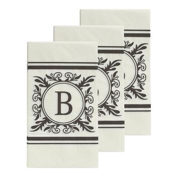 "3-Pack Monogram ""B"" Guest Towels, 45-Count"