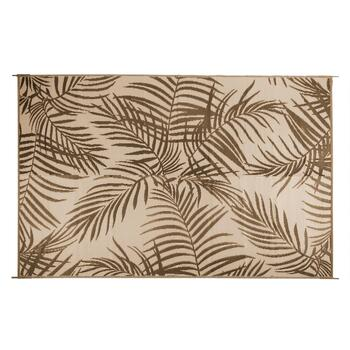 6'x9' Brown Palm Reversible All-Weather Patio Mat