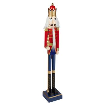 "42"" Red Flocked Nutcracker Soldier with Staff"