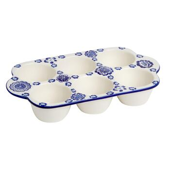 Blue Flowers 6-Cavity Muffin Pan