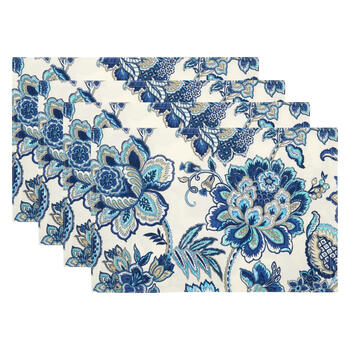 Waverly® Blue Flowers Fabric Placemats, Set of 4 view 1