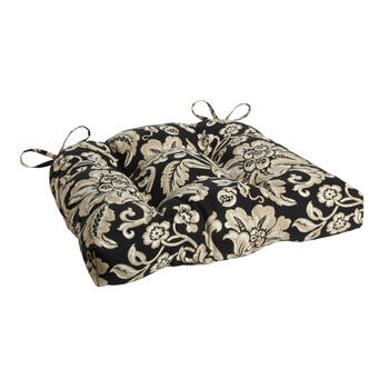 Black/Beige Floral Scroll Indoor/Outdoor Single-U Seat Pad view 1