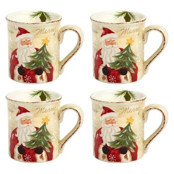 """Merry Christmas"" Santa Ceramic Mugs, Set of 4"