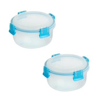 33-oz. Blue/Clear Plastic Storage Containers, Set of 2