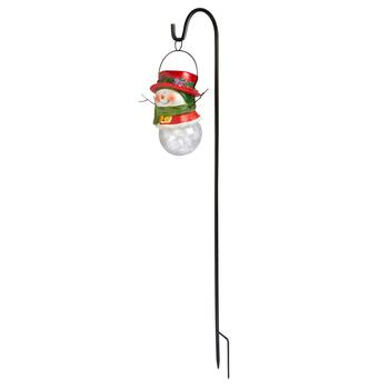 "34.5"" Shepherd's Hook Stake with Red Hat Solar Snowman"