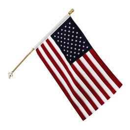 American Flag with 5' Wooden Pole