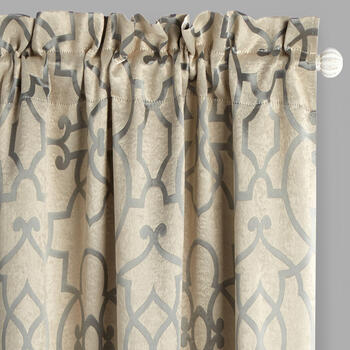 Geo Jacquard Blackout Window Curtains, Set of 2 view 1