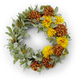 "20"" Yellow/Orange Floral Wreath view 1"