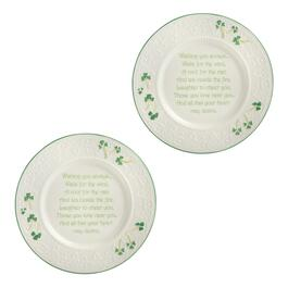 Irish Wishes Shamrock Charger Plates, Set of 2