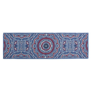 Blue/Red/White Medallion All-Weather Rug view 3