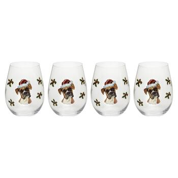 18-oz. Boxer with Santa Hat Stemless Wine Glasses, Set of 4