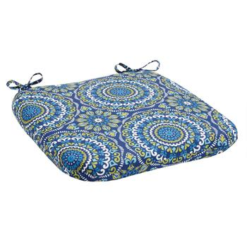 Blue Medallion Indoor/Outdoor Squared Seat Pad