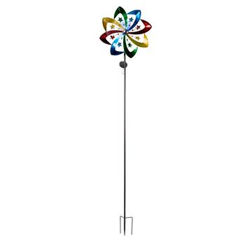 "80"" Rainbow Fan with Stars Solar Wind Spinner Stake"