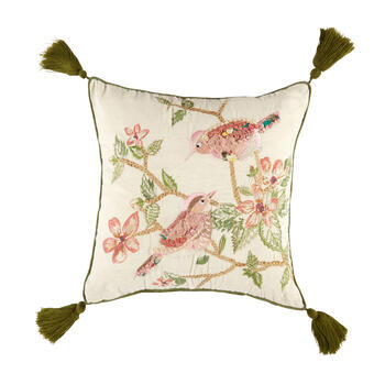 Bird Couple Embellished Square Throw Pillow view 1