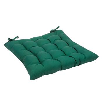 Solid Hunter Green Indoor/Outdoor Tufted Square Seat Pad