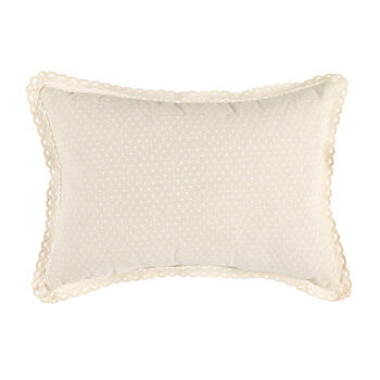 White Bunny and Flowers Polka Dot Oblong Throw Pillow view 2