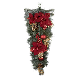 "30"" Red Poinsettia & Gold Pinecone Teardrop Wreath view 1"