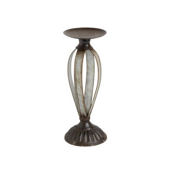 Galvanized Metal Ribbed Pillar Candle Holder view 1