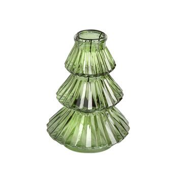 "7"" Glass Christmas Tree Tealight Candle Holder"