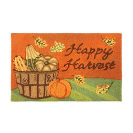 "18""x30"" ""Happy Harvest"" Pumpkin Basket Hooked Rectangular Area Rug"